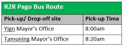 R2R bus schedule
